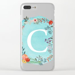 Personalized Monogram Initial Letter C Blue Watercolor Flower Wreath Artwork Clear iPhone Case