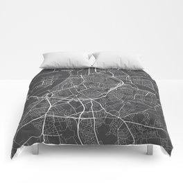 Antwerp Map, Belgium - Gray Comforters