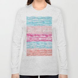 Artistic pink teal watercolor brushstrokes confetti stripes Long Sleeve T-shirt