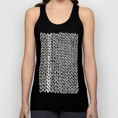 Grey Knit With White Stripe Unisex Tank Top