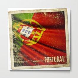 Portugal grunge sticker flag Metal Print