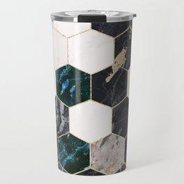 Hexagon Green Marble Honeycomb Mosaic Travel Mug