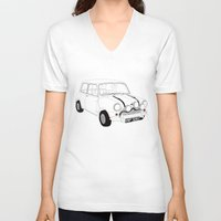 mini cooper V-neck T-shirts featuring The Italian Job Red Mini Cooper by Martin Lucas
