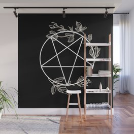 Pentagram with Plant Adornments - on black Wall Mural