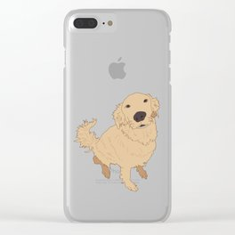 Golden Retriever Love Dog Illustrated Print Clear iPhone Case