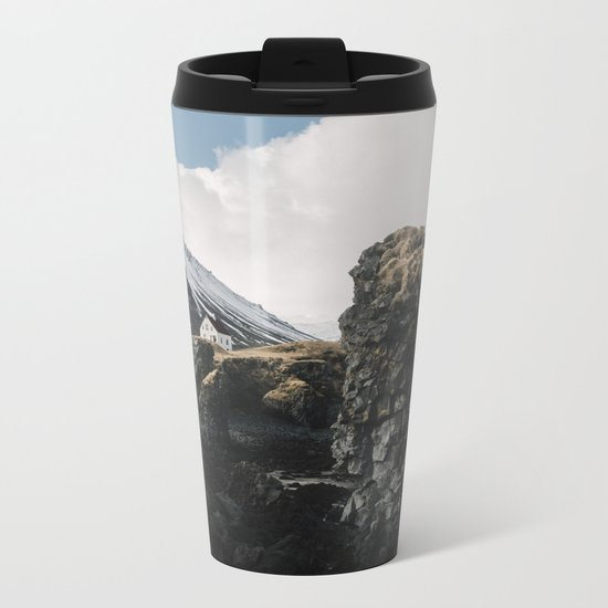 Cozy Mountain Cabin In Iceland - Landscape Photography Metal Travel Mug