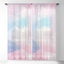 Cotton Candy Geometric Sky #homedecor #magical #lifestyle Sheer Curtain