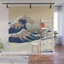 The Great Wave of Chihuahua Wall Mural