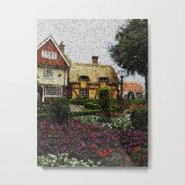 Digital Tapestry Mosaic Cottage Gardens Metal Print