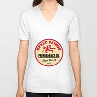 decal V-neck T-shirts featuring Hot Rod Retro Decal by Pixel Villain