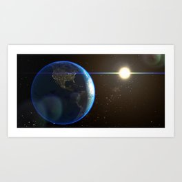 Night Lighted Earth from space Art Print
