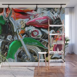 Green Paint And Chrome, Motorcycle Eye Candy Wall Mural