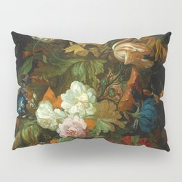 """Ernest Stuven """"Still life of flowers in a glass vase with a butterfly on a ledge"""" Pillow Sham"""