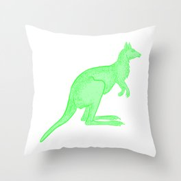 Bright Green Kangaroo Throw Pillow