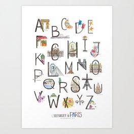 L'alphabet a Paris Art Print