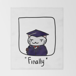 Graduate Cat Throw Blanket