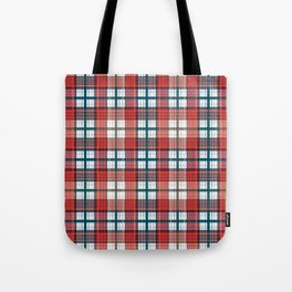 Colorful red grey plaid . Tote Bag