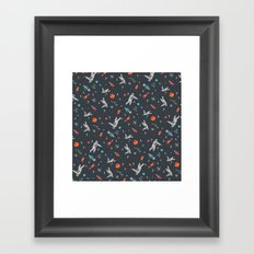 Spaceships, planets and Astronaut Framed Art Print