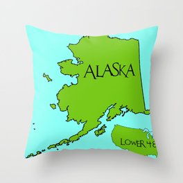 Alaska and the Lower 48 Forty-eight Throw Pillow