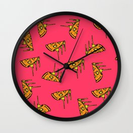 Pepperoni Pizza Dripping Cheese by the Slice Pattern (pink) Wall Clock