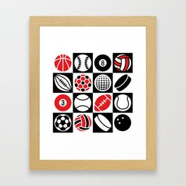 Sport Ball Checkerboard Framed Art Print
