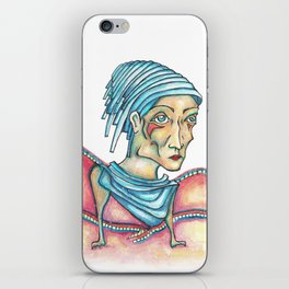 Blue Hat Woman iPhone Skin