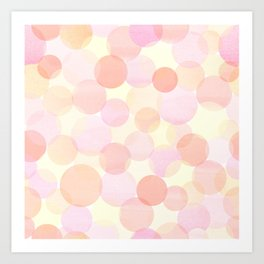 Pink and coral-red dots overprint pattern Art Print