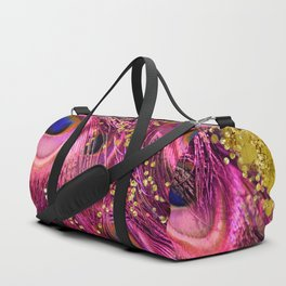 Pink Peacock Feathers Duffle Bag