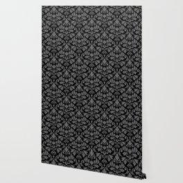 Flourish Damask Big Ptn Gray on Black Wallpaper