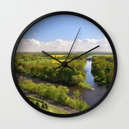 Czech sunny spring landscape Wall Clock