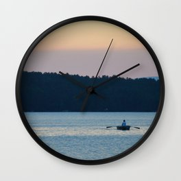 Canoe at Sunset Wall Clock