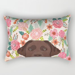 Chocolate Lab floral dog head cute labrador retriever must have pure breed dog gifts Rectangular Pillow