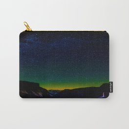 Starry Night Sky Stars Landscape Silhouette Colorful Green Turquoise Sky Ombre Carry-All Pouch