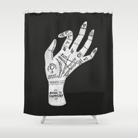 palm Shower Curtains featuring Palm Reading by Cat Coquillette