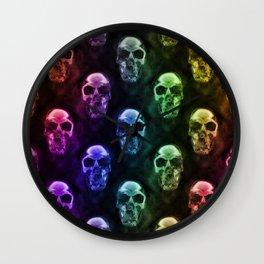 Rainbow Skulls on Black Wall Clock