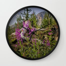 Fireweed on the Mountain Wall Clock