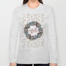 Elegant Believe Typography Christmas Wreath Gold Snowflakes Long Sleeve T-shirt
