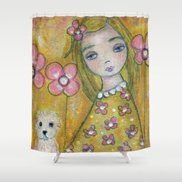 Blonde Girl with Dogs by Flor Larios Shower Curtain