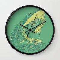 huebucket Wall Clocks featuring Escape by Huebucket