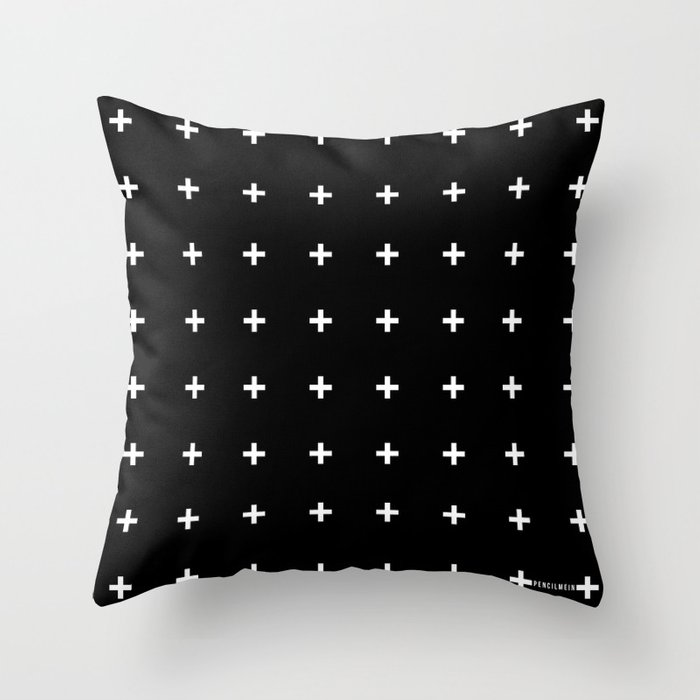 White Plus on Black /// www.pencilmeinstationery.com Throw Pillow