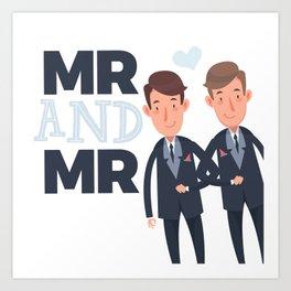 Mr and Mr gay wedding Art Print