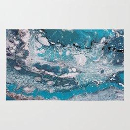 Blue lagoon, acrylic on canvas Rug