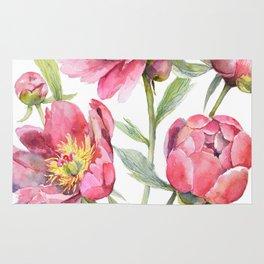 Peonies Watercolor Florals Botanical Design Rug