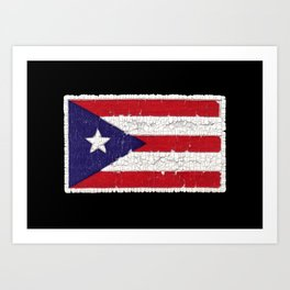 Puerto Rican flag with distressed textures Art Print