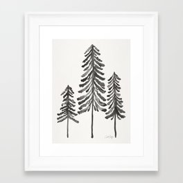Pine Trees – Black Ink Framed Art Print