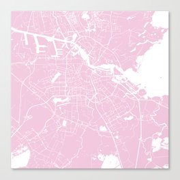 Amsterdam Pink on White Street Map Canvas Print