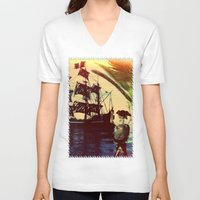 pirate ship V-neck T-shirts featuring pirate ship by Ancello