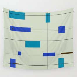 Mid Mod Grid in Blue Wall Tapestry
