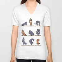bull terrier V-neck T-shirts featuring Bull Terrier Yoga by Huebucket