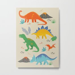 Jurassic Dinosaurs in Primary Colors Metal Print